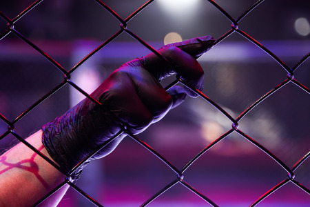 Rear view of a referee holding a black-gloved hand on a metal grid in an octagonal scene. Male judge in mixed martial arts at MMA tournaments. A concept of justice, rules for sporting events Archivio Fotografico