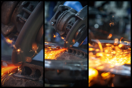 A collage of three photos: a close-up the welder cuts the metal with an angle grinder, the sparks from cutting fly in different directions.