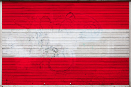 Close-up of old metal wall with national flag of Austria. Concept of Austria export-import, storage of goods and national delivery of goods. Flag in grunge style Reklamní fotografie