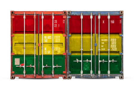 The concept of Bolivia export-import and national delivery of goods. Close-up of the container with the national flag of Bolivia on white isolated background.