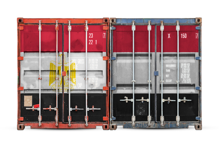 The concept of Egypt export-import and national delivery of goods. Close-up of the container with the national flag of Egypt on white isolated background. Standard-Bild