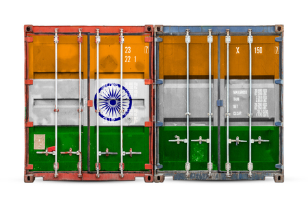 The concept of India export-import and national delivery of goods. Close-up of the container with the national flag of India on white isolated background.