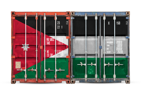 The concept of Jordan  export-import and national delivery of goods. Close-up of the container with the national flag of Jordan on white isolated background.