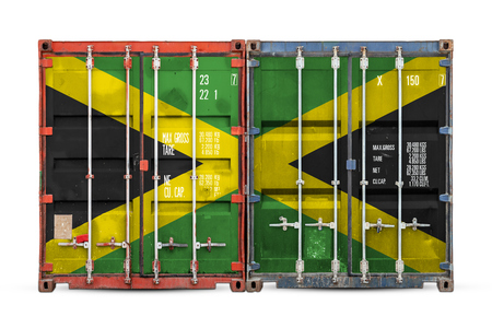 The concept of Jamaica  export-import and national delivery of goods. Close-up of the container with the national flag of Jamaica on white isolated background.