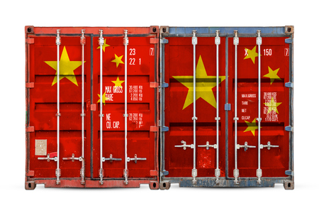 The concept of China  export-import and national delivery of goods. Close-up of the container with the national flag of China on white isolated background.