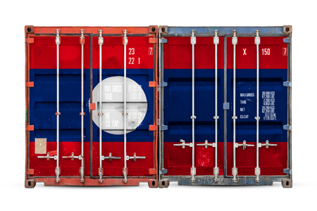 The concept of Laos  export-import and national delivery of goods. Close-up of the container with the national flag of Laos on white isolated background.