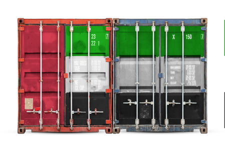 The concept of United Arab Emirates export-import and national delivery of goods. Close-up of the container with the national flag of United Arab Emirates on white isolated background.