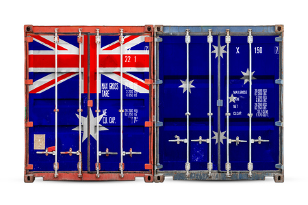 The concept of Australia export-import and national delivery of goods. Close-up of the container with the national flag of Australia on white isolated background.