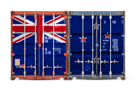 The concept of New Zealand  export-import and national delivery of goods. Close-up of the container with the national flag of New Zealand   on white isolated background.