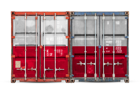 The concept of Poland  export-import and national delivery of goods. Close-up of the container with the national flag of Poland on white isolated background.