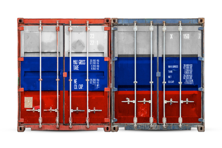 The concept of Russia export-import and national delivery of goods. Close-up of the container with the national flag of Russia on white isolated background.