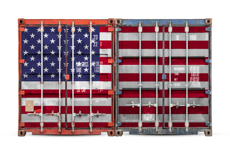 The concept of USA export-import and national delivery of goods. Close-up of the container with the national flag of USA on white isolated background. Stock fotó