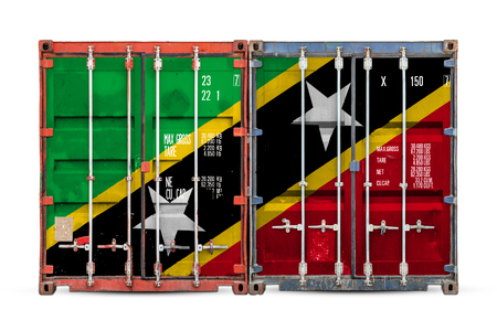 The concept of Saint Kitts and Nevis  export-import and national delivery of goods. Close-up of the container with the national flag of Saint Kitts and Nevis on white isolated background.