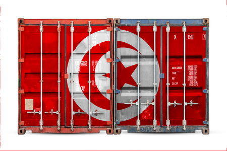 The concept of Tunisia export-import and national delivery of goods. Close-up of the container with the national flag of Tunisia on white isolated background.