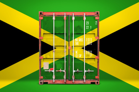 The concept of  Jamaica export-import, container transporting and national delivery of goods. The transporting container with the national flag of Jamaica, view front