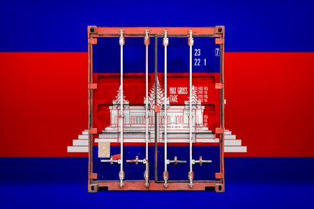 The concept of  Cambodia  export-import, container transporting and national delivery of goods. The transporting container with the national flag of Cambodia, view front 免版税图像