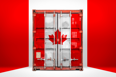 The concept of  Canada export-import, container transporting and national delivery of goods. The transporting container with the national flag of Canada, view front Stok Fotoğraf