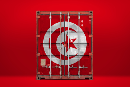 The concept of  Tunisia export-import, container transporting and national delivery of goods. The transporting container with the national flag of Tunisia, view front