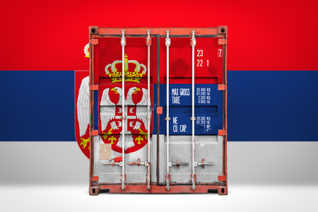 The concept of  Serbia export-import, container transporting and national delivery of goods. The transporting container with the national flag of Serbia, view front Standard-Bild