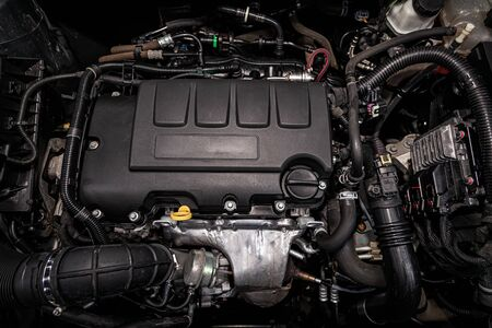 close-up of the engine, front view. Internal combustion engine, car parts, deteyling, Soft focus