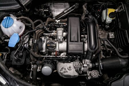 close-up of the engine, front view. Internal combustion engine, car parts, deteyling, Soft focus Stok Fotoğraf