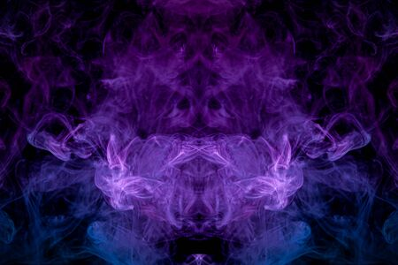 abstract fractal background . Fantasy blue, purple  and pink smoke abstract on black background.