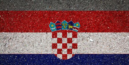 National flag of Croatia on a stone background.The concept of national pride and symbol of the country.