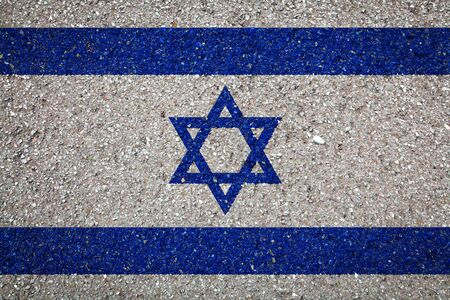 National flag of Israel on a stone background.The concept of national pride and symbol of the country.