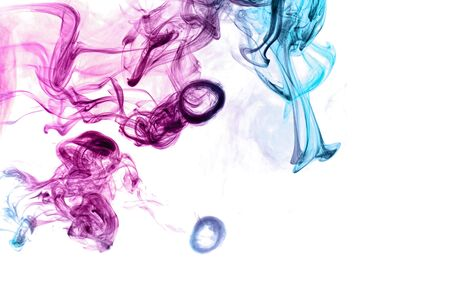 Frozen abstract movement of  explosion smoke multiple blue and pink colors on white background. Background from the smoke of vape 版權商用圖片