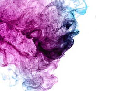 Abstract art colored pink and blue  smoke on white isolated background. Stop the movement of multicolored smoke on dark background