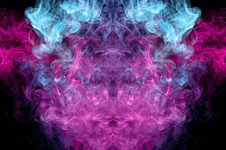 Mocap for cool t-shirts. Thick colorful blue and pink smoke  in the form of a monster on a black isolated background. Abstract smoke background art in illustration geometry.