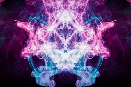 Pattern, Neon pink, blue  and  purple smoke in the  on a dark isolated background. Background from the smoke of vape