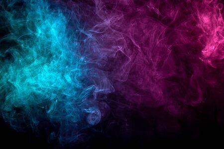 Close-up wervelende roze, blauwe, paarse rook achtergrond