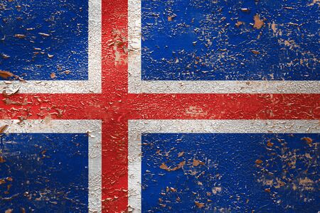 National flag of Iceland  on old peeling wall background.The concept of national pride and symbol of the country. Stock fotó