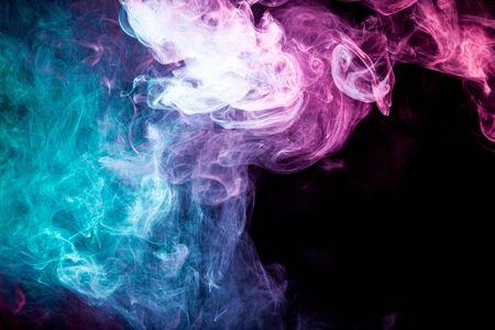 Toxic movement of color smoke abstract on black background, fire design Фото со стока