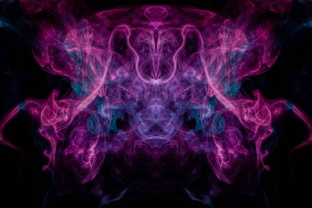 Smoke of pattern pink and blue  in the form of horror monster on a dark isolated background.  Scary and mysterious symbol Фото со стока