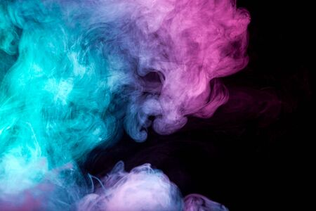 Toxic movement of color smoke abstract on black background, fire design Stockfoto