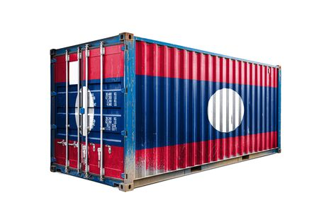 The concept of  Laos export-import, container transporting and national delivery of goods. The transporting container with the national flag of Laos, view front Stock fotó