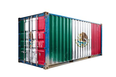 The concept of  Mexico export-import, container transporting and national delivery of goods. The transporting container with the national flag of Mexico, view front Standard-Bild - 129846639