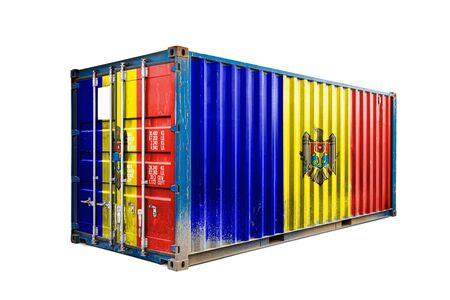 The concept of  Moldova export-import, container transporting and national delivery of goods. The transporting container with the national flag of Moldova, view front Standard-Bild - 129846641
