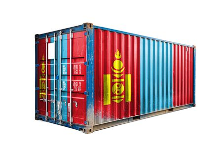 The concept of  Mongolia export-import, container transporting and national delivery of goods. The transporting container with the national flag of Mongolia, view front Standard-Bild - 129846640