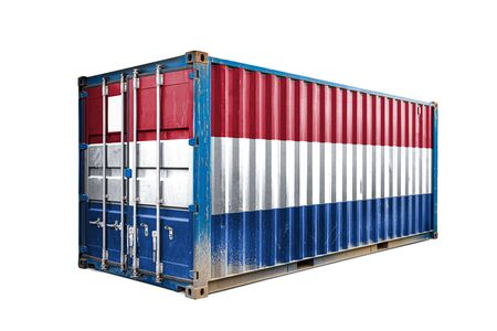 The concept of  Netherlands export-import, container transporting and national delivery of goods. The transporting container with the national flag of Netherlands, view front Standard-Bild - 129846643