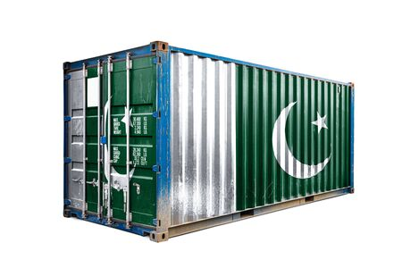 The concept of  Pakistan export-import, container transporting and national delivery of goods. The transporting container with the national flag of Pakistan, view front