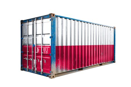 The concept of  Poland export-import, container transporting and national delivery of goods. The transporting container with the national flag of Poland, view front