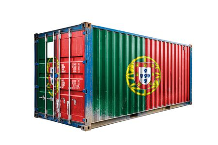 The concept of  Portugal export-import, container transporting and national delivery of goods. The transporting container with the national flag of Portugal, view front 版權商用圖片