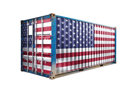 The concept of  USA export-import, container transporting and national delivery of goods. The transporting container with the national flag of USA, view front