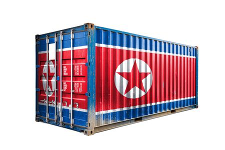 The concept of  North Korea export-import, container transporting and national delivery of goods. The transporting container with the national flag of North Korea, view front
