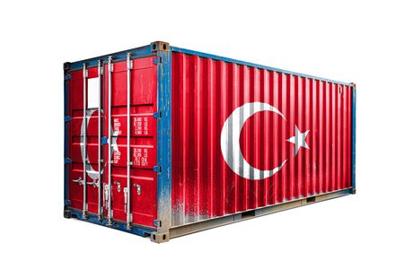 The concept of  Turkey export-import, container transporting and national delivery of goods. The transporting container with the national flag of Turkey, view front Standard-Bild - 129846644