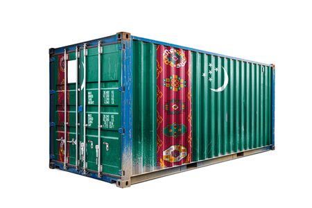 The concept of  Turkmenistan export-import, container transporting and national delivery of goods. The transporting container with the national flag of Turkmenistan, view front Standard-Bild - 129846642