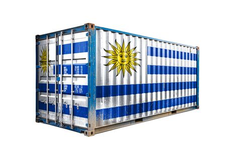 The concept of  Uruguay export-import, container transporting and national delivery of goods. The transporting container with the national flag of Uruguay, view front Standard-Bild - 129846647